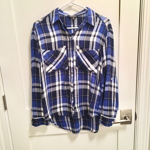 Express Oversized Plaid Flannel Shirt, Blue XS